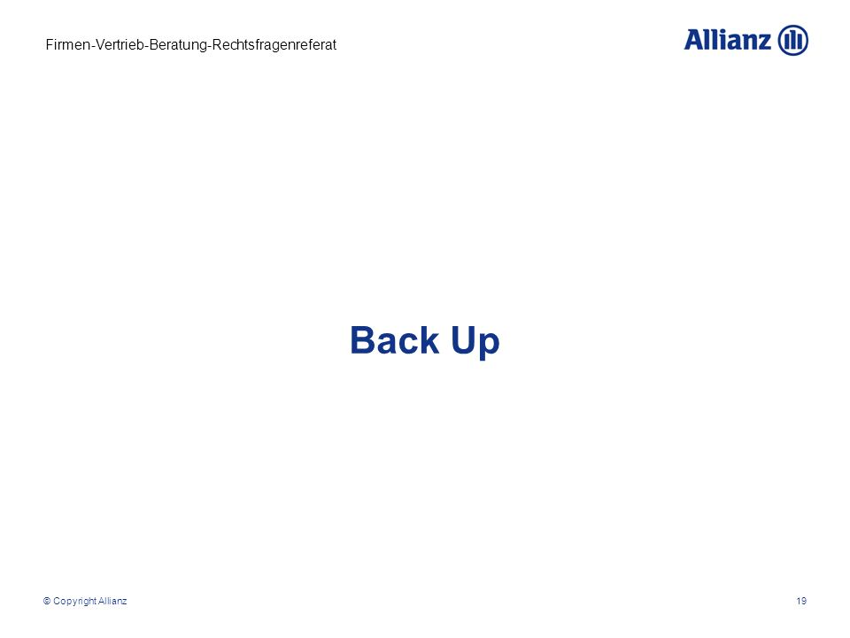 Back Up © Copyright Allianz