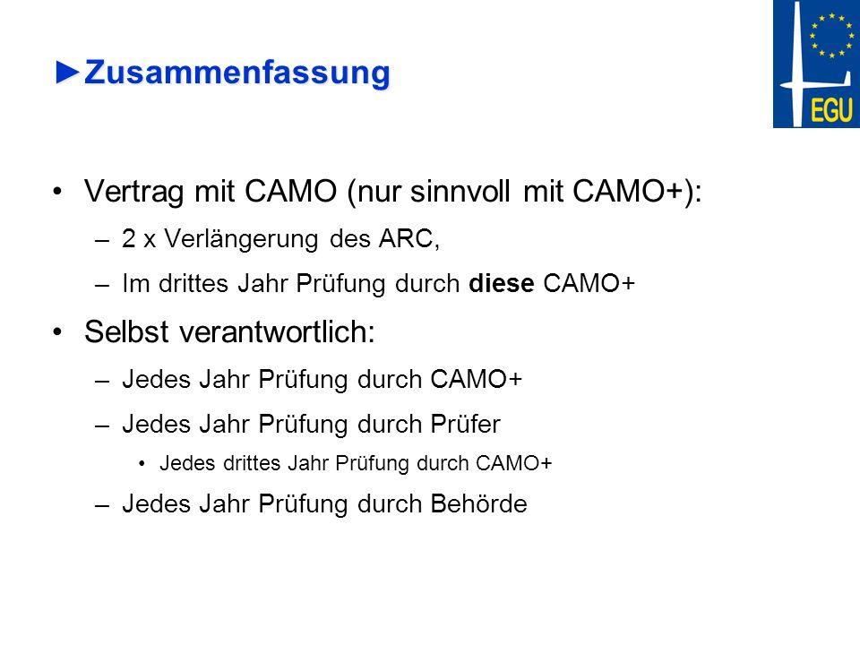 Zusammenfassung Vertrag mit CAMO (nur sinnvoll mit CAMO+):