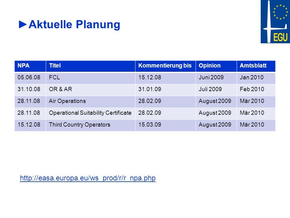 Aktuelle Planung http://easa.europa.eu/ws_prod/r/r_npa.php NPA Titel