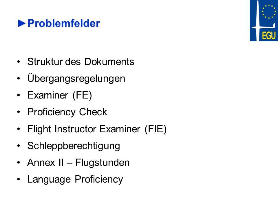 Problemfelder Struktur des Dokuments Übergangsregelungen Examiner (FE)