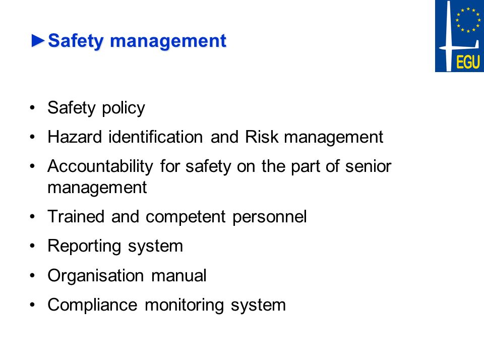 Safety management Safety policy
