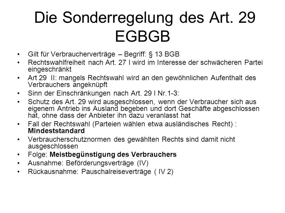 Die Sonderregelung des Art. 29 EGBGB