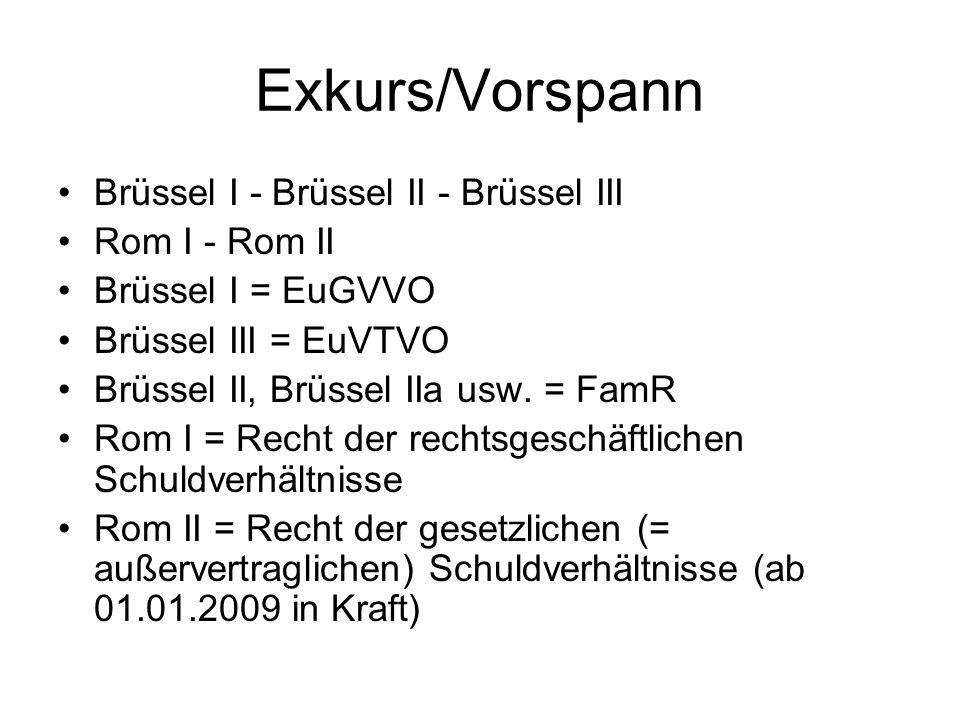 Exkurs/Vorspann Brüssel I - Brüssel II - Brüssel III Rom I - Rom II