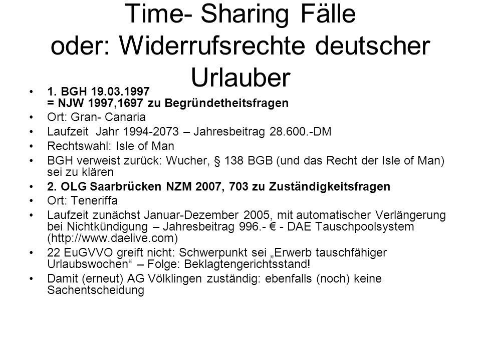 Time- Sharing Fälle oder: Widerrufsrechte deutscher Urlauber