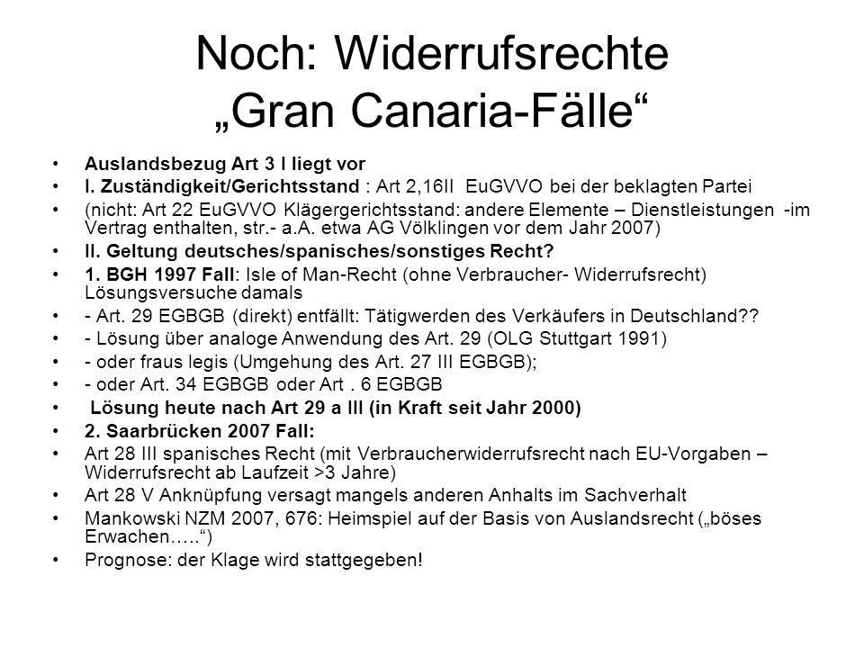 """Noch: Widerrufsrechte """"Gran Canaria-Fälle"""