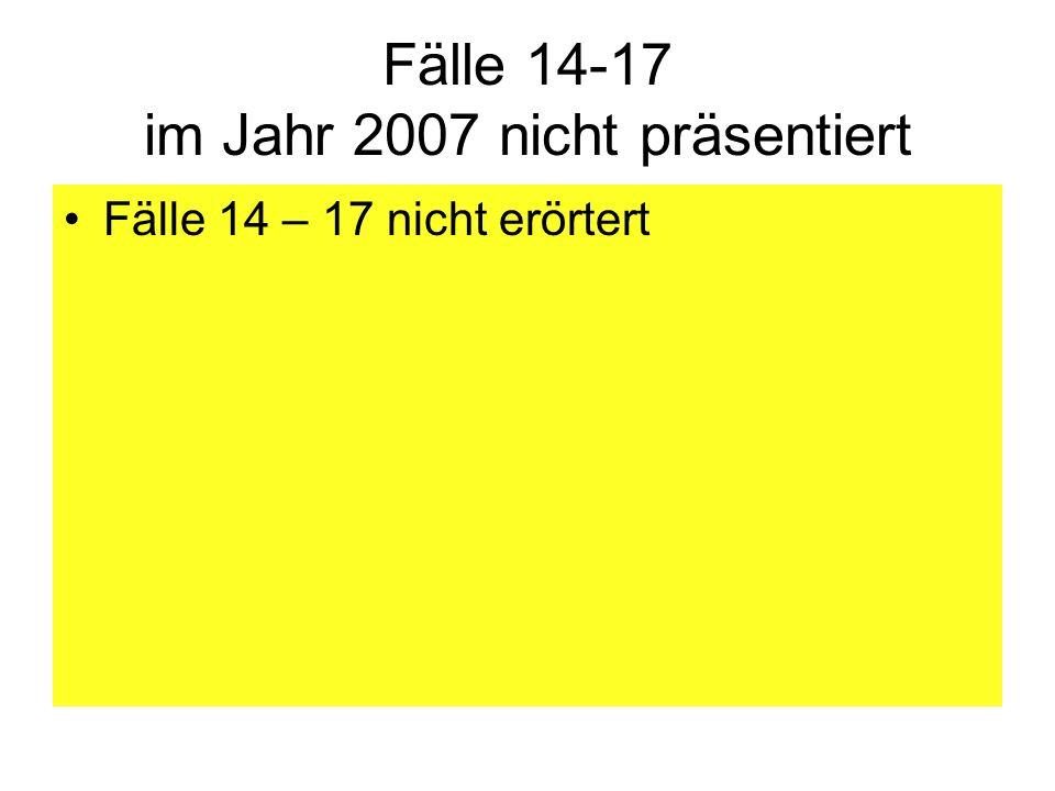 Fälle 14-17 im Jahr 2007 nicht präsentiert