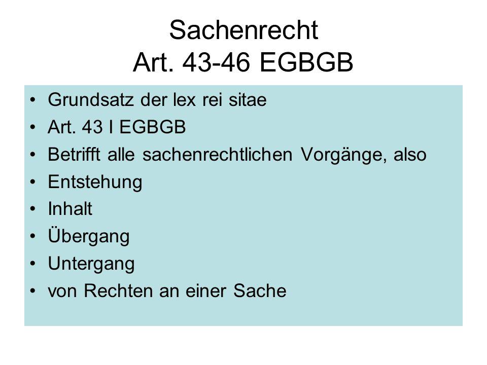 Sachenrecht Art. 43-46 EGBGB