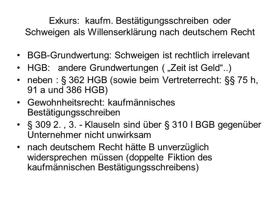 Exkurs: kaufm. Bestätigungsschreiben oder Schweigen als Willenserklärung nach deutschem Recht