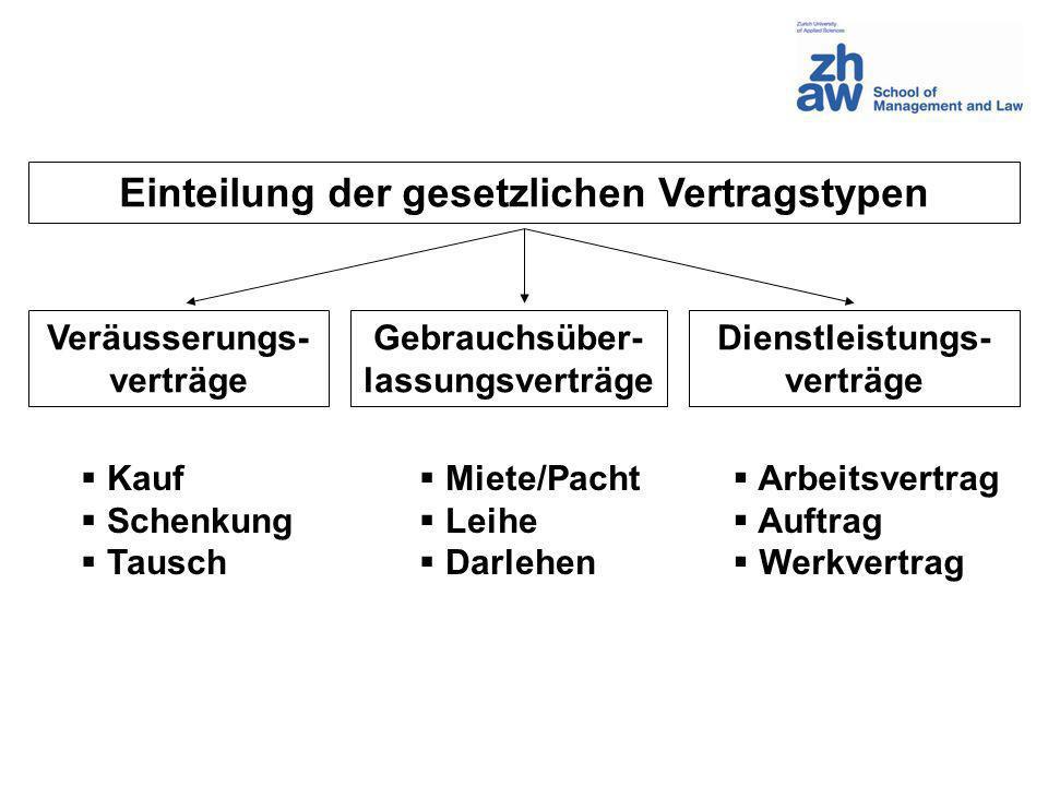 Einteilung der gesetzlichen Vertragstypen