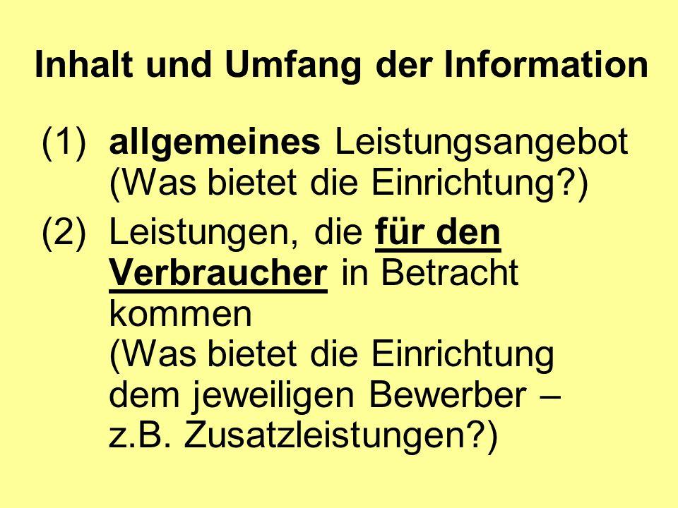 Inhalt und Umfang der Information