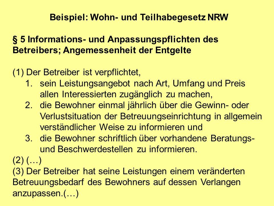 Beispiel: Wohn- und Teilhabegesetz NRW