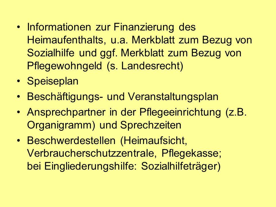 Informationen zur Finanzierung des Heimaufenthalts, u. a
