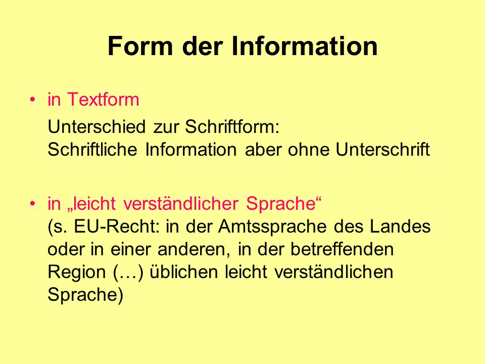 Form der Information in Textform