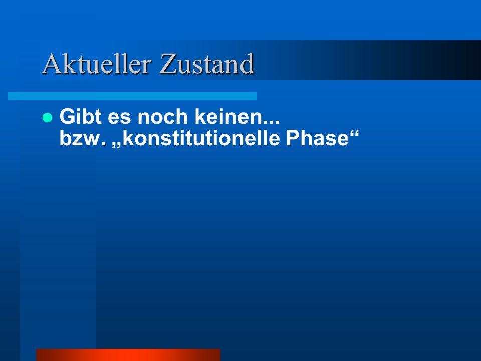 """Aktueller Zustand Gibt es noch keinen... bzw. """"konstitutionelle Phase"""