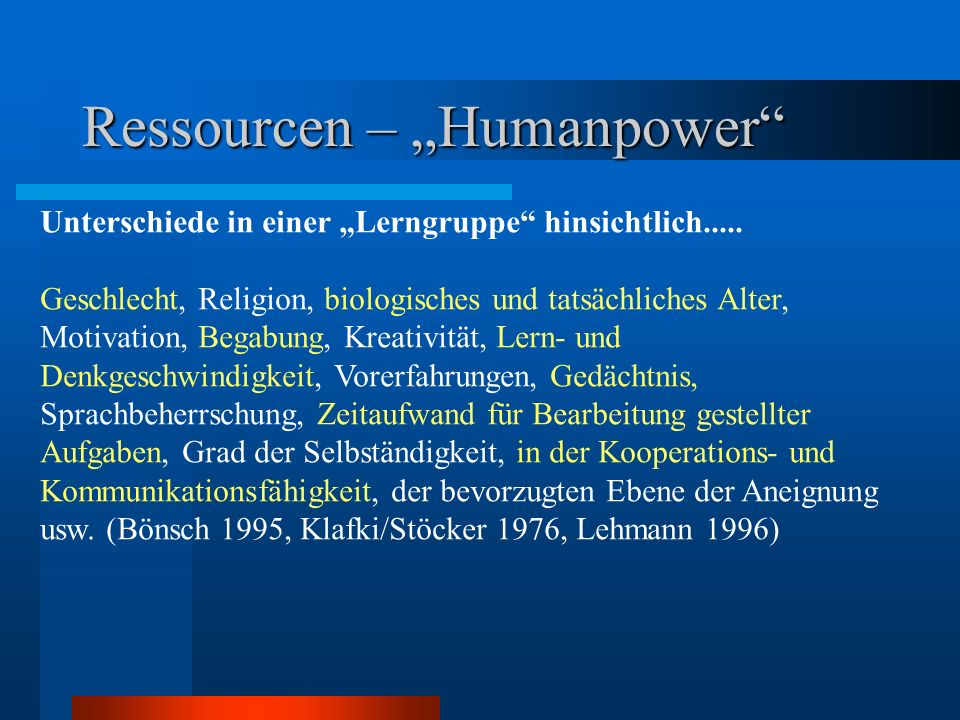 "Ressourcen – ""Humanpower"