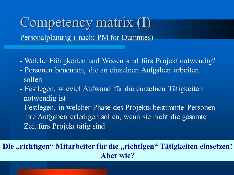 Competency matrix (I) Personalplanung ( nach: PM for Dummies)