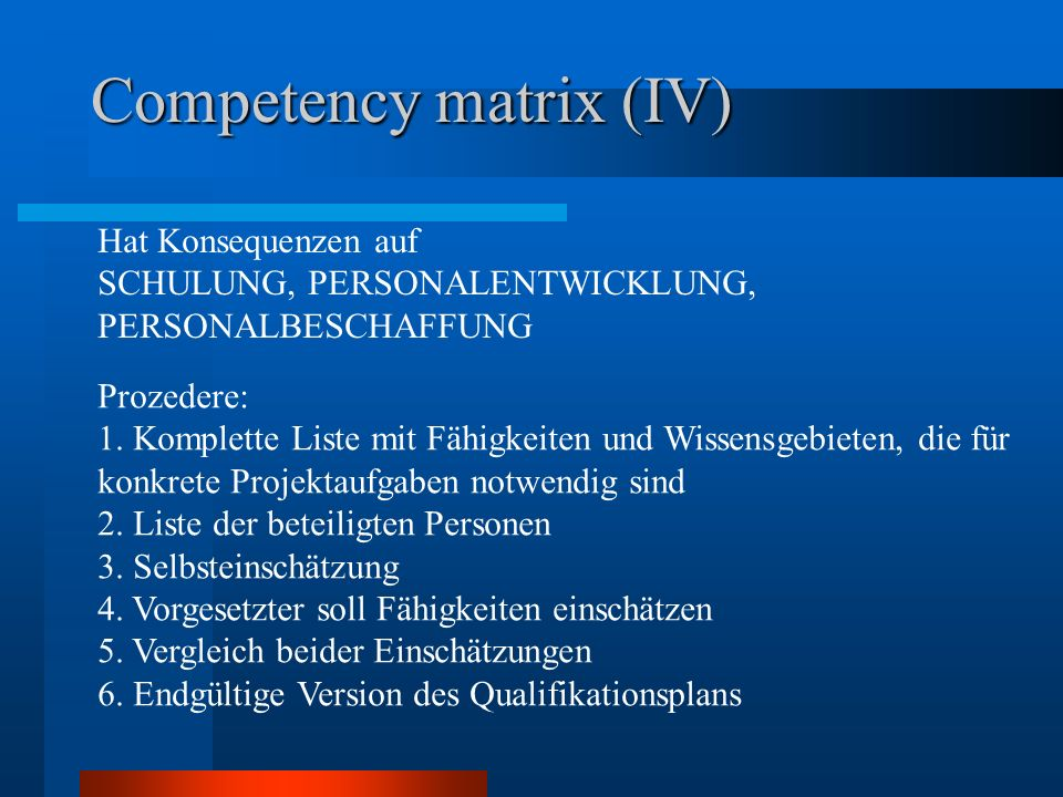 Competency matrix (IV)