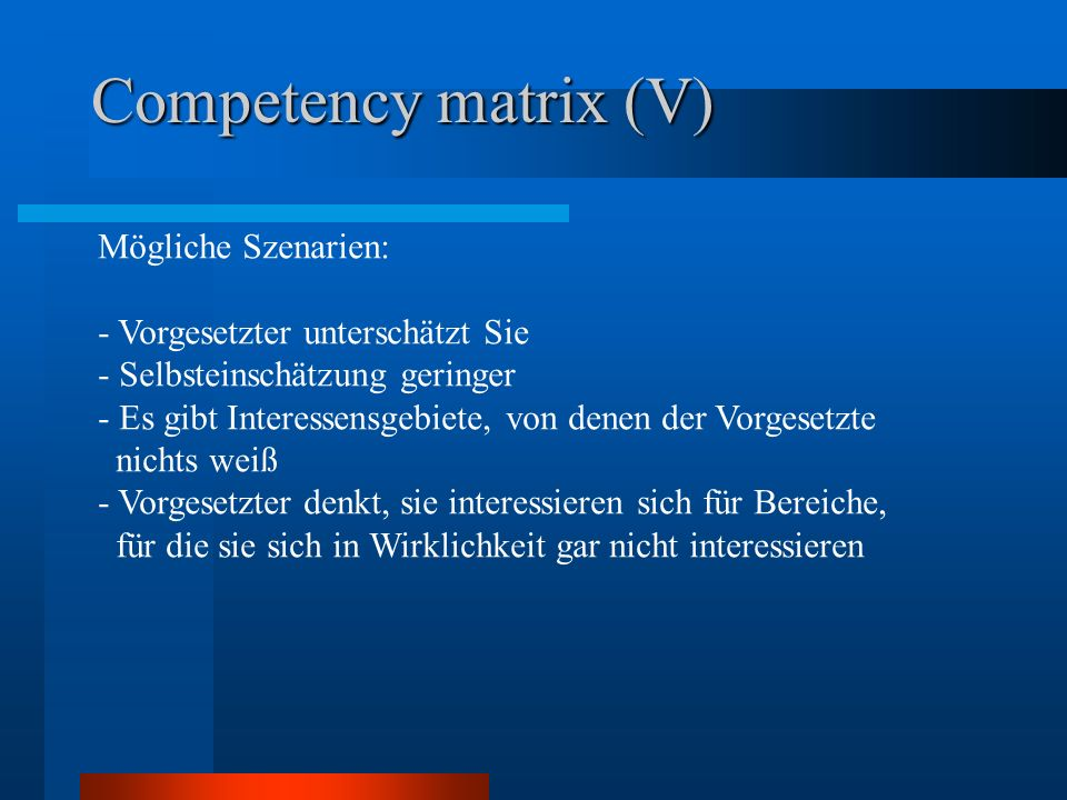 Competency matrix (V)