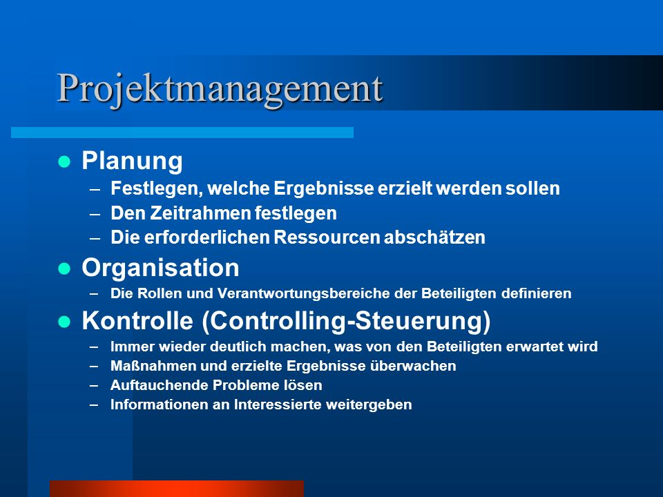 Projektmanagement Planung Organisation