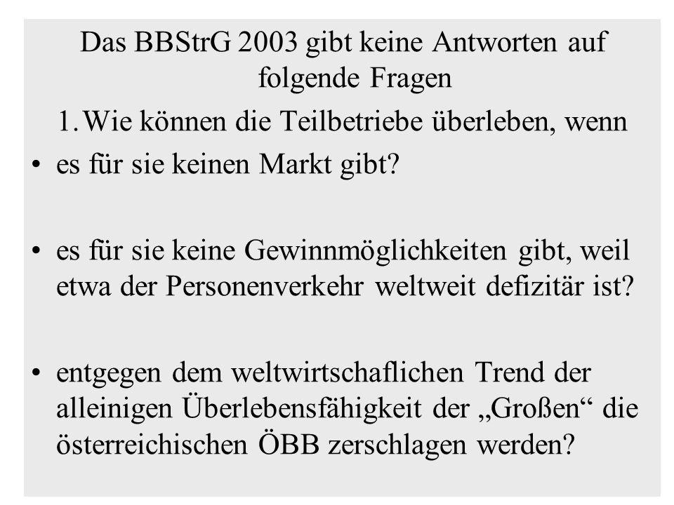 Das BBStrG 2003 gibt keine Antworten auf folgende Fragen