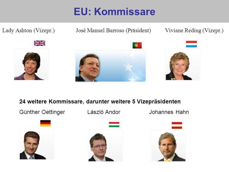 EU: Kommissare Lady Ashton (Vizepr.) José Manuel Barroso (Präsident) Viviane Reding (Vizepr.)