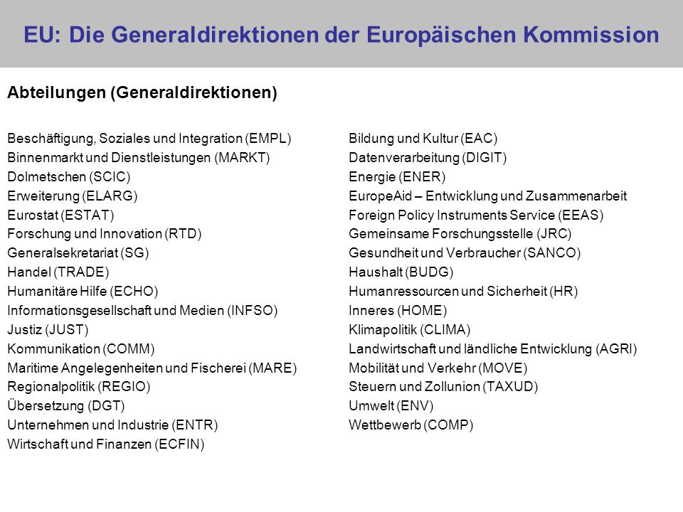 EU: Die Generaldirektionen der Europäischen Kommission