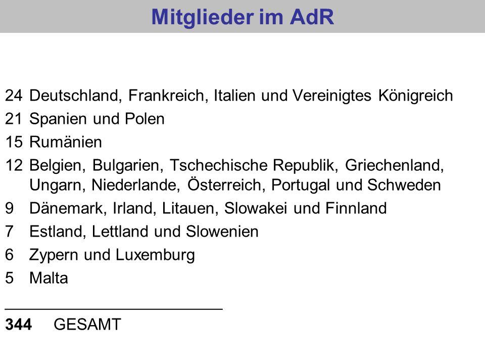 Mitglieder im AdR 24 Deutschland, Frankreich, Italien und Vereinigtes Königreich. 21 Spanien und Polen.