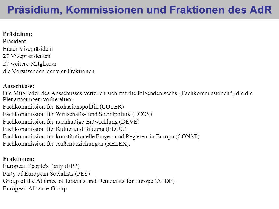 Präsidium, Kommissionen und Fraktionen des AdR