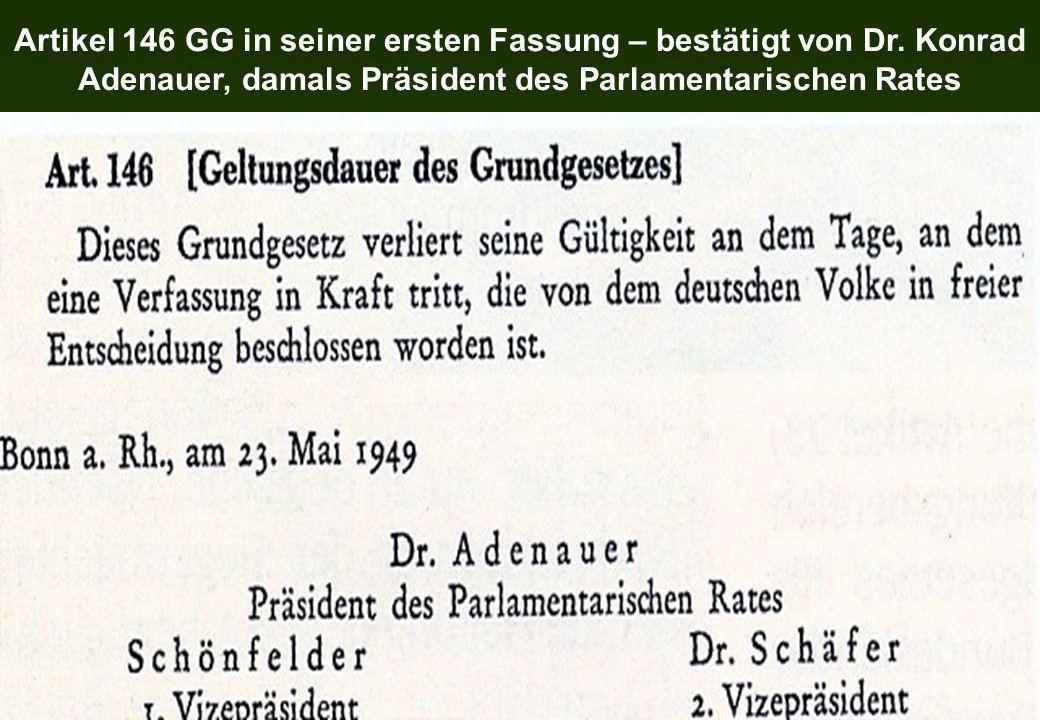 Artikel 146 GG in seiner ersten Fassung – bestätigt von Dr