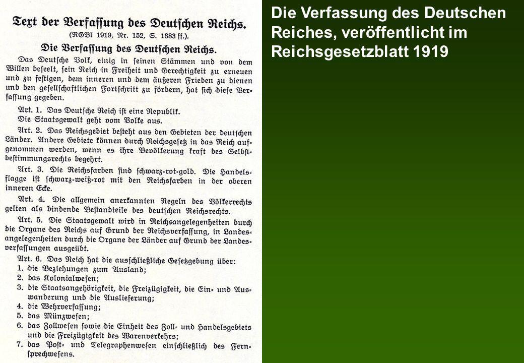 Die Verfassung des Deutschen Reiches, veröffentlicht im Reichsgesetzblatt 1919