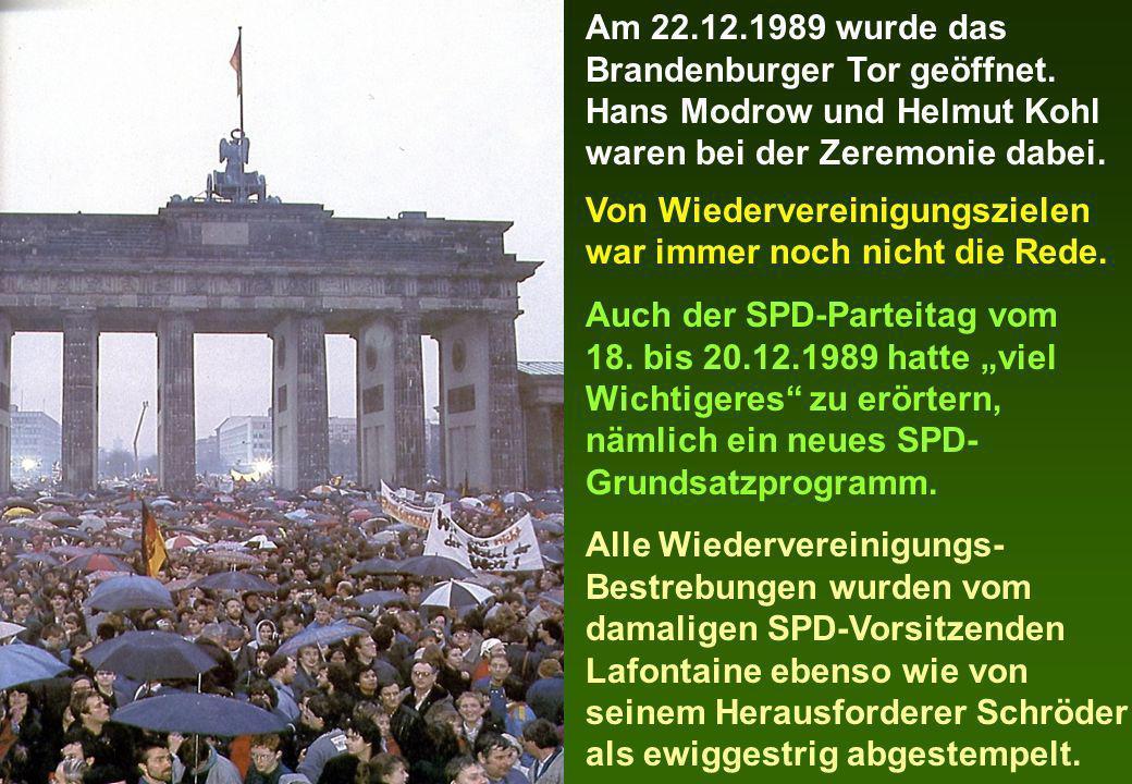 Am 22. 12. 1989 wurde das Brandenburger Tor geöffnet