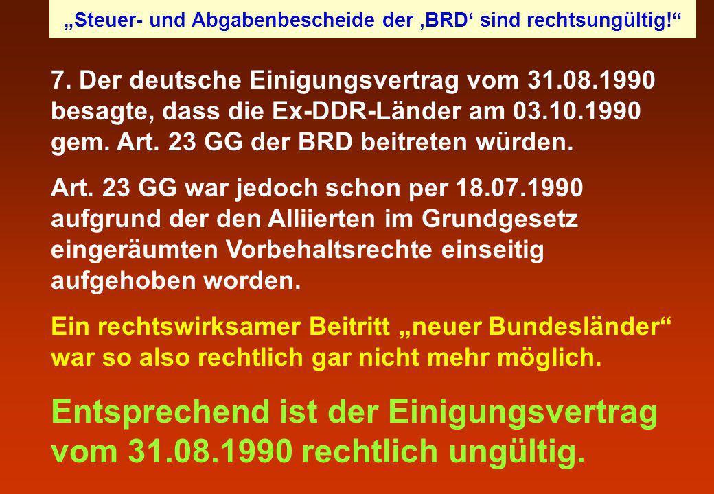 """""""Steuer- und Abgabenbescheide der 'BRD' sind rechtsungültig!"""