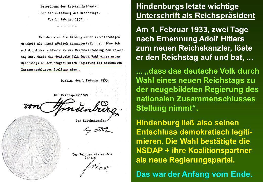 Hindenburgs letzte wichtige Unterschrift als Reichspräsident