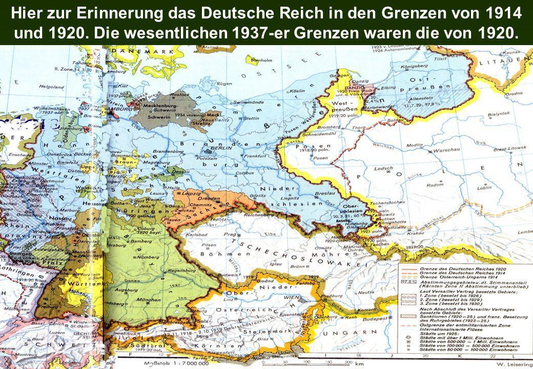 Hier zur Erinnerung das Deutsche Reich in den Grenzen von 1914 und 1920.