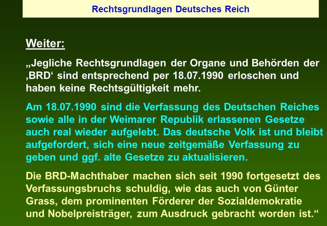 Rechtsgrundlagen Deutsches Reich