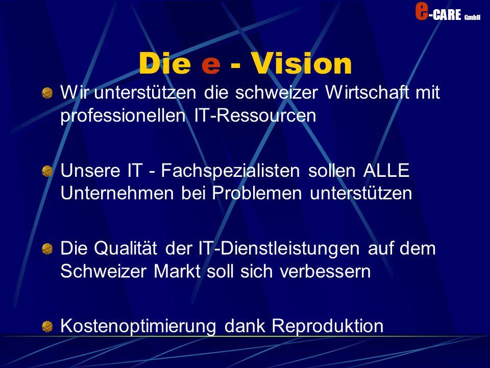 Die e - Vision Wir unterstützen die schweizer Wirtschaft mit professionellen IT-Ressourcen.