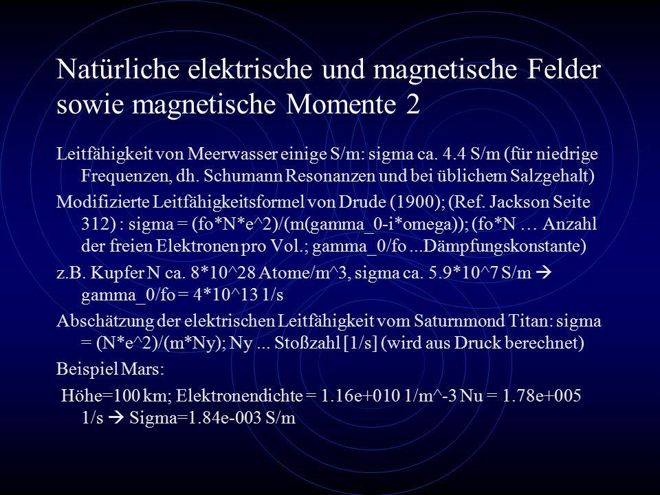 Natürliche elektrische und magnetische Felder sowie magnetische Momente 2