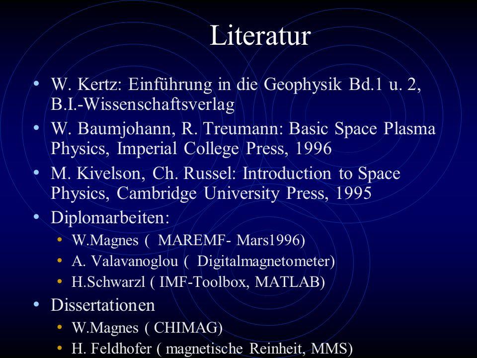 Literatur W. Kertz: Einführung in die Geophysik Bd.1 u. 2, B.I.-Wissenschaftsverlag.