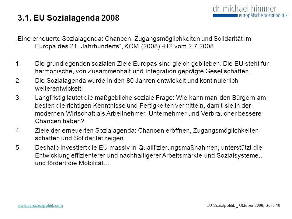 3.1. EU Sozialagenda 2008