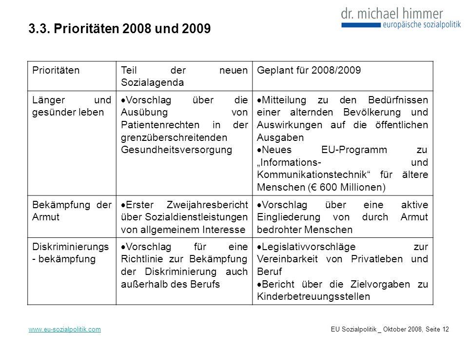 3.3. Prioritäten 2008 und 2009 Prioritäten Teil der neuen Sozialagenda