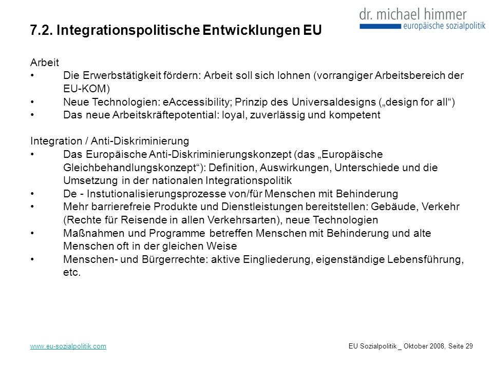 7.2. Integrationspolitische Entwicklungen EU