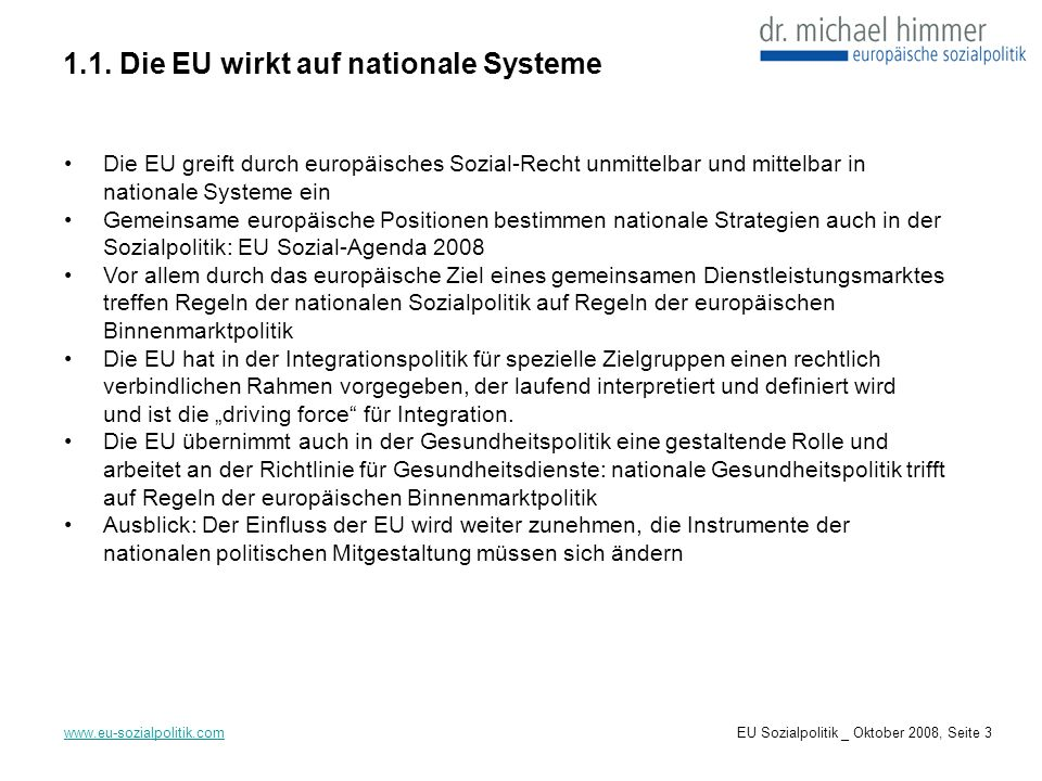1.1. Die EU wirkt auf nationale Systeme