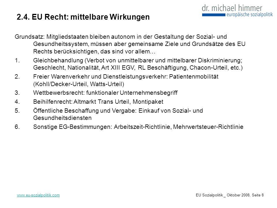 2.4. EU Recht: mittelbare Wirkungen