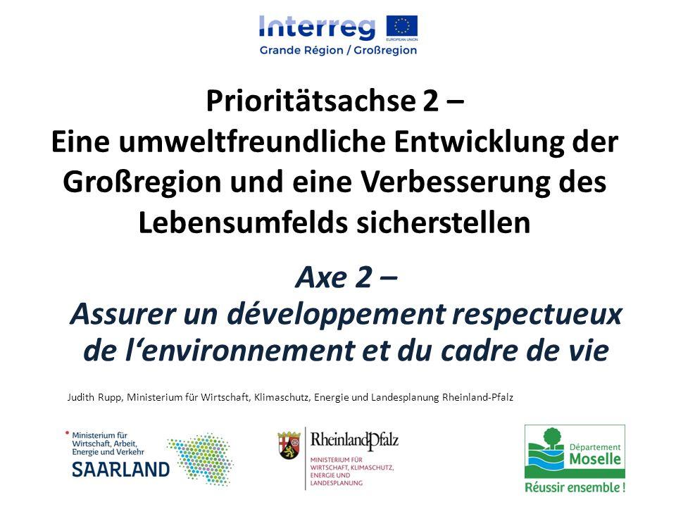 Prioritätsachse 2 – Eine umweltfreundliche Entwicklung der Großregion und eine Verbesserung des Lebensumfelds sicherstellen