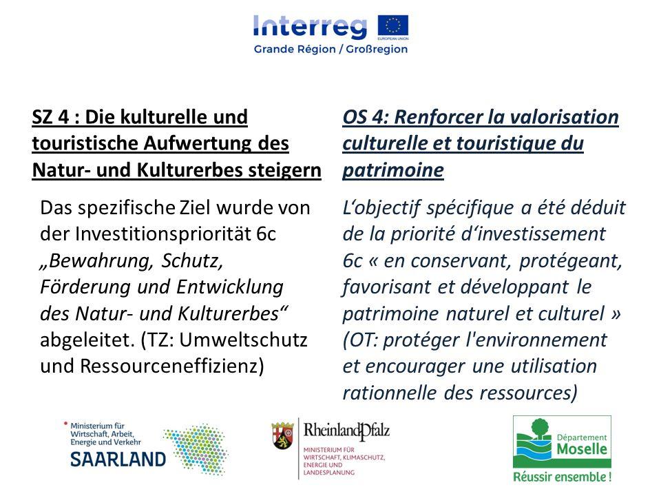 SZ 4 : Die kulturelle und touristische Aufwertung des Natur- und Kulturerbes steigern