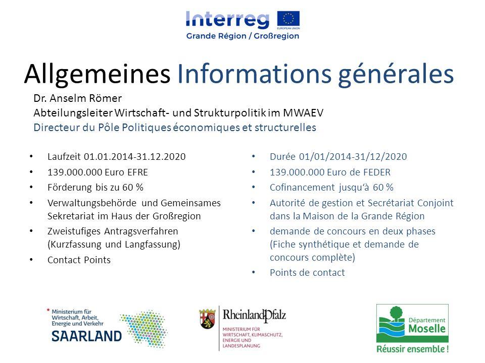 Allgemeines Informations générales