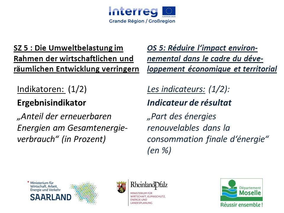 SZ 5 : Die Umweltbelastung im Rahmen der wirtschaftlichen und räumlichen Entwicklung verringern