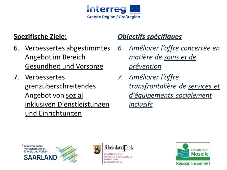 Spezifische Ziele: Objectifs spécifiques. Verbessertes abgestimmtes Angebot im Bereich Gesundheit und Vorsorge.