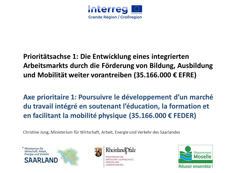 Prioritätsachse 1: Die Entwicklung eines integrierten Arbeitsmarkts durch die Förderung von Bildung, Ausbildung und Mobilität weiter vorantreiben (35.166.000 € EFRE)