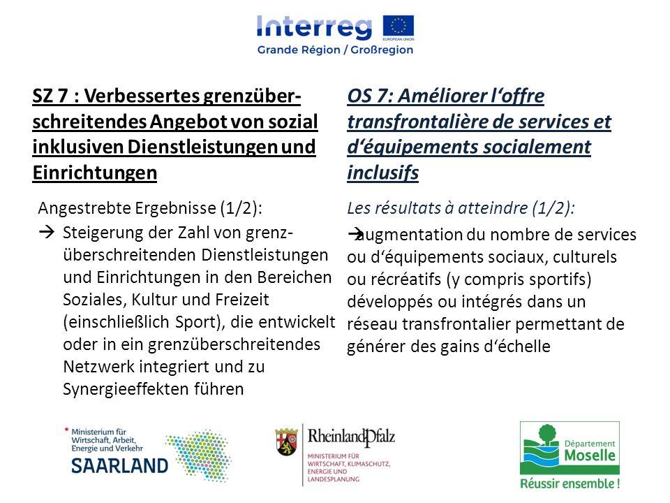 SZ 7 : Verbessertes grenzüber-schreitendes Angebot von sozial inklusiven Dienstleistungen und Einrichtungen